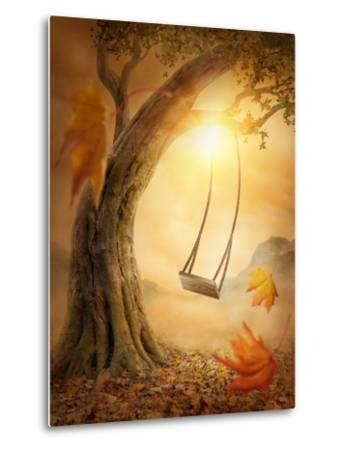 Old Swing Hanging from a Large Tree-egal-Metal Print