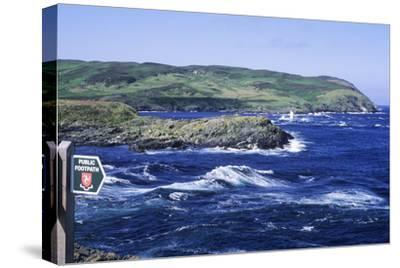Manx Footpath Sign, Symbol, Overlooking Coast-Neil Holmes-Stretched Canvas Print