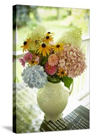 Fresh Cut Flowers in Vase, Bradford, Ontario, Canada-Shannon Ross-Stretched Canvas Print