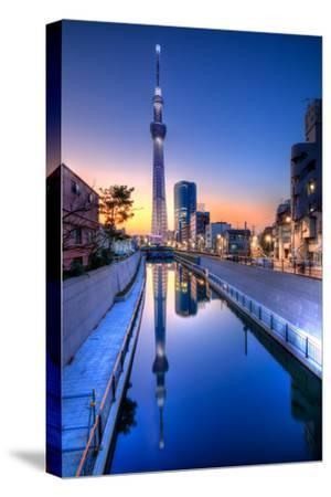 Tokyo Sky Tree Sunset Reflection-Image Provided by Duane Walker-Stretched Canvas Print