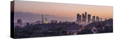 Panoramic View of Downtown Los Angeles at Sunset-Taesam Do-Stretched Canvas Print