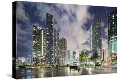 Miami River Cityscape at Dusk-Raimund Koch-Stretched Canvas Print