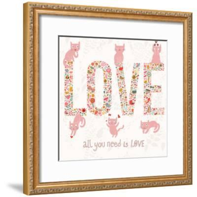 Romantic Valentines Day Card with Word Love Made Birds, Flowers, Petals, Hearts and Twigs. Cute Wed-smilewithjul-Framed Art Print