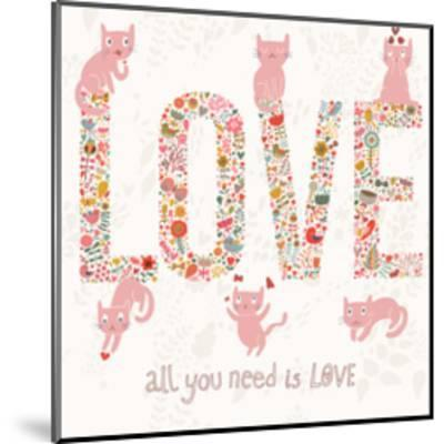 Romantic Valentines Day Card with Word Love Made Birds, Flowers, Petals, Hearts and Twigs. Cute Wed-smilewithjul-Mounted Art Print