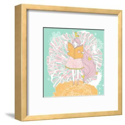 Cute Small Princess Reading a Book on Flower. Pastel Colored Girl with a Book and Colorful Ranuncul-smilewithjul-Framed Art Print