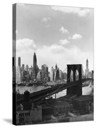 Brooklyn Bridge and Manhattan Skyline-Frederic Lewis-Stretched Canvas Print