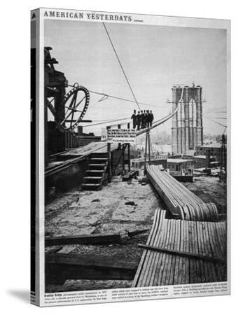 Brooklyn Bridge-Hulton Archive-Stretched Canvas Print