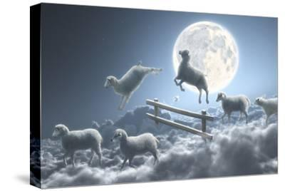 Sheep Jumping over Fence in a Cloudy Moon Scene-Dieter Spannknebel-Stretched Canvas Print