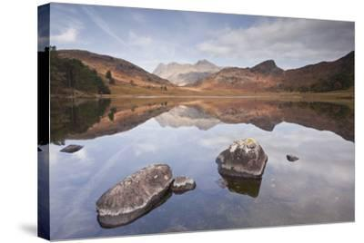 Blea Tarn and the Langdale Pikes.-Julian Elliott Photography-Stretched Canvas Print