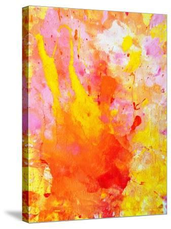 Pink and Yellow Abstract Art Painting-T30Gallery-Stretched Canvas Print