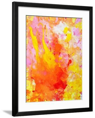 Pink and Yellow Abstract Art Painting-T30Gallery-Framed Art Print