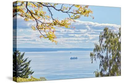 View of Ferry on Puget Sound-Mel Curtis-Stretched Canvas Print