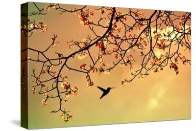 Bird Singing in the Morning Sky-Autumnn-Stretched Canvas Print