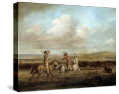 Native Americans on Horseback Hunting Bison by George Catlin--Stretched Canvas Print