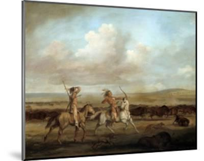 Native Americans on Horseback Hunting Bison by George Catlin--Mounted Giclee Print