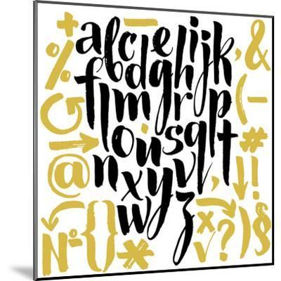 Vector Alphabet. Hand Drawn Letters. Letters of the Alphabet Written with a Brush.-veraholera-Mounted Art Print