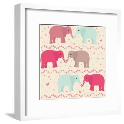 Romantic Seamless Pattern with Elephants-elein-Framed Art Print