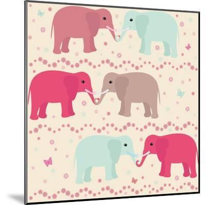 Romantic Seamless Pattern with Elephants-elein-Mounted Art Print