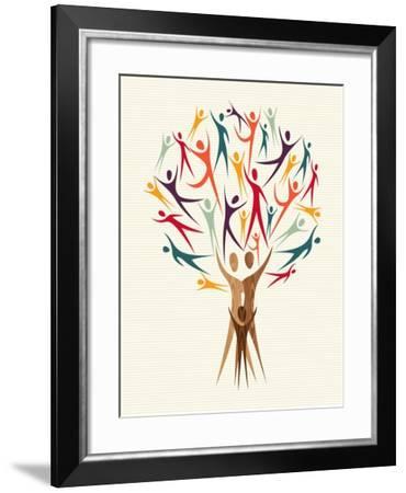 Diversity People Tree-cienpies-Framed Art Print