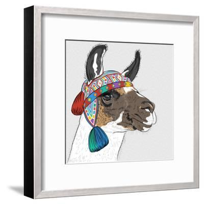Vector Sketch of Alpaca-kavalenkava volha-Framed Art Print