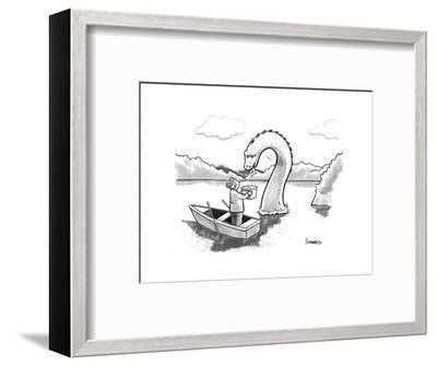 The Loch Ness monster votes for Scotland Independance. - New Yorker Cartoon-Benjamin Schwartz-Framed Premium Giclee Print