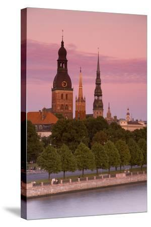 Bell Towers and Spires in Riga's Old Town-Doug Pearson-Stretched Canvas Print