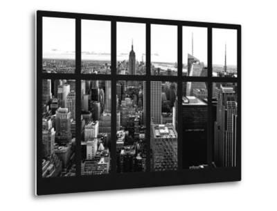 Window View - Skyline of Manhattan with the Empire State Building - Times Square - NYC-Philippe Hugonnard-Metal Print