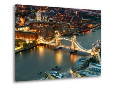 View of City of London with the Tower Bridge at Night - London - UK - England - United Kingdom-Philippe Hugonnard-Metal Print