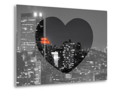 Love NY Series - B&W Cityscape at Night with the New Yorker Hotel - Manhattan - New York - USA-Philippe Hugonnard-Metal Print