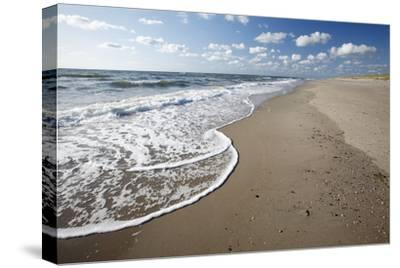 Waves Breaking on Empty Beach--Stretched Canvas Print