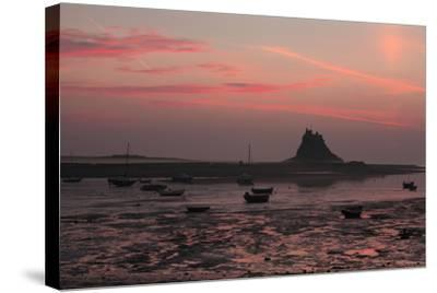Lindisfarne Castle at Dawn over Harbour--Stretched Canvas Print