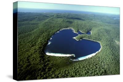 Aerial Lake Mckenzie (Boorangoora) a Perched Lake--Stretched Canvas Print