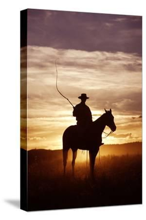 Cattleman Riding Quarter, Paint Horse at Sunset--Stretched Canvas Print