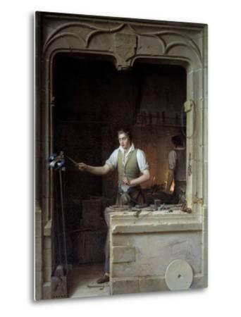 A Locksmith Seeking to Make a Jay Bite His Metal File by Jean Antoine Laurent--Metal Print