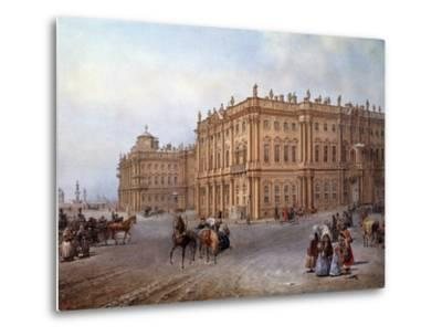 View of the Winter Palace in Saint Petersburg in 1843 by Vasily Sodovnikof--Metal Print