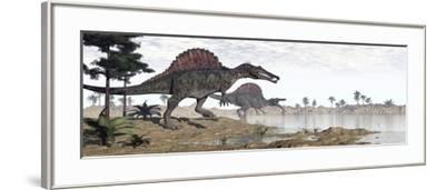 Two Spinosaurus Dinosaurs Walking to the Water in a Desert Landscape--Framed Art Print