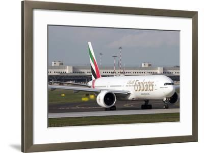An Emirates Boeing 777 at Milano Malpensa Airport, Italy--Framed Photographic Print