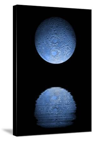 Artist's Depiction of a Heavily Cratered Blue Moon Rising over a Body of Calm Water--Stretched Canvas Print