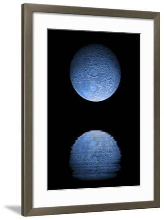 Artist's Depiction of a Heavily Cratered Blue Moon Rising over a Body of Calm Water--Framed Art Print