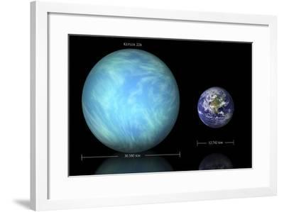 Artist's Depiction of the Difference in Size Between Earth and Kepler 22B--Framed Art Print