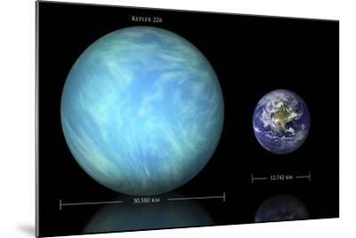Artist's Depiction of the Difference in Size Between Earth and Kepler 22B--Mounted Art Print