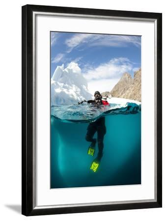 Diver in Front of an Iceberg, Astrolabe Island, Antarctic Peninsula, Antarctica--Framed Photographic Print