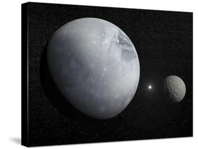 Pluton, its Big Moon Charon and the Polaris Star--Stretched Canvas Print