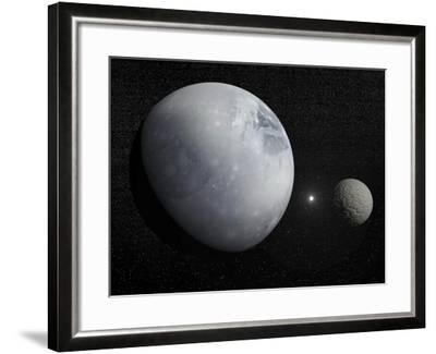 Pluton, its Big Moon Charon and the Polaris Star--Framed Art Print