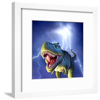 A Tyrannosaurus Rex with a Blue Stormy Sky and Lightning Behind It--Framed Art Print