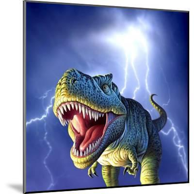 A Tyrannosaurus Rex with a Blue Stormy Sky and Lightning Behind It--Mounted Art Print