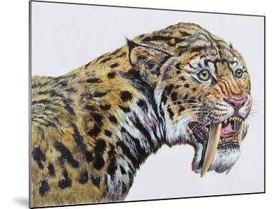 Close-Up Headshot of Megantereon, Pliocene Epoch--Mounted Art Print