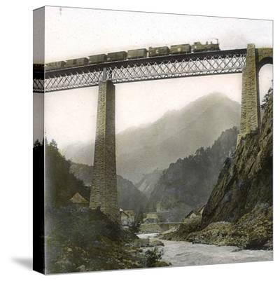 Amsteg (Switzerland), the Bridge of the Saint-Gothard Railroad, over the Reuss River, Circa 1865-Leon, Levy et Fils-Stretched Canvas Print