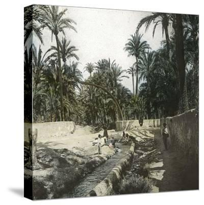 Elche (Spain), Women Washing Laundry in a Canal Near the Village, Circa 1885-1890-Leon, Levy et Fils-Stretched Canvas Print