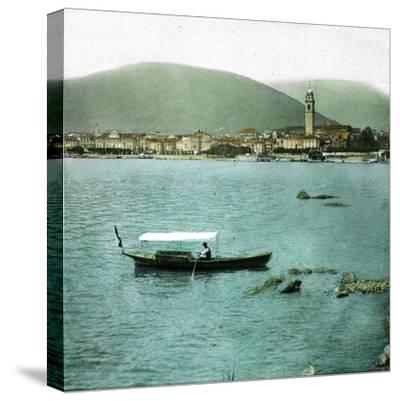 Pallanza (Italy), Boat on the Lago Maggiore-Leon, Levy et Fils-Stretched Canvas Print